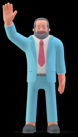 man saying hello