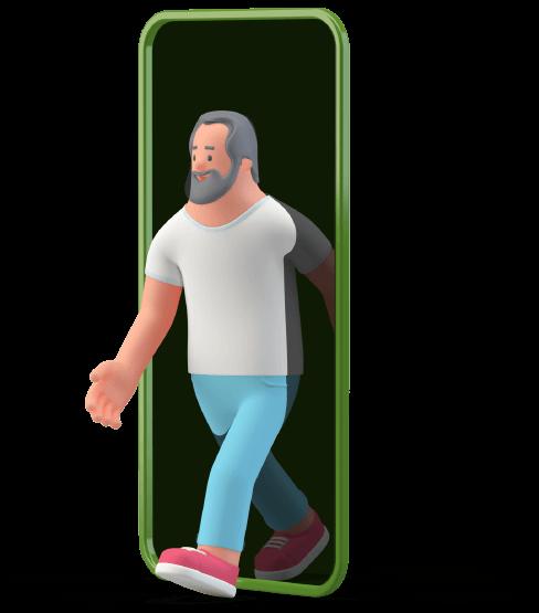 digital-man-image-coming through smartphone
